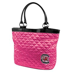 NCAA South Carolina, Pink Quilted Tote