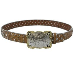 Winners Outer Wear Chestnut Leather Belt with Crystals, 34""