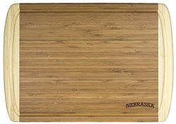 """Totally Bamboo Rectangular Kona Groove Cutting and Serving Board, Laser Etched with University of Nebraska Logo, 18"""" by 12.5"""""""