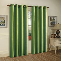 Two 58_x001A_x84_x001A_ Faux Silk Mira Curtain Panels with Set of Eight Grommets, Green