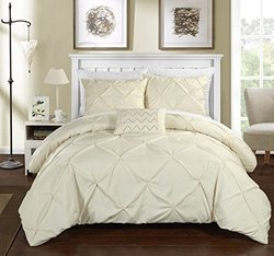 Chic Home 3 Piece Daya Pinch Pleated, Ruffled & Pleated Complete Duvet Cover Set Shams & Decorative Pillows Included, Twin, Beige