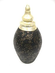 """Firefly Home Collection Floral Pattern Ceramic Pot, 12"""", Black/Gold"""