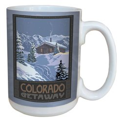 TreeFree Greetings 79353 Colorado Cabin by Paul A. Lanquist Ceramic Mug with Full-Sized Handle, 15-Ounce, Multicolored