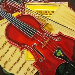 Continental Art Center BD-2136 8 by 8-Inch Red Violin Ceramic Art Tile