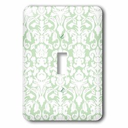 3dRose LLC lsp_76584_1 Green and White French Floral Fancy Damask Pattern Classic Classy Elegant and Stylish Gray Single Toggle Switch