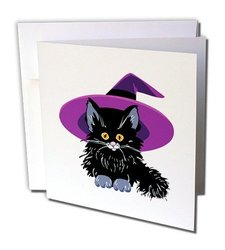"3dRose Adorable Baby Black Kitten with Purple Witch Hat Greeting Cards, 6"" x 6"", Set of 6 (gc_153701_1)"