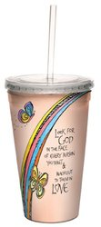 Tree-Free Greetings cc33939 Look for God by Joanne Fink Artful Traveler Double-Walled Cool Cup with Reusable Straw, 16-Ounce