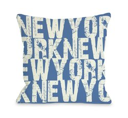 "Bentin Home Decor ""New York"" Throw Pillow - Blue/L Gray - Size: 18""x 18"""