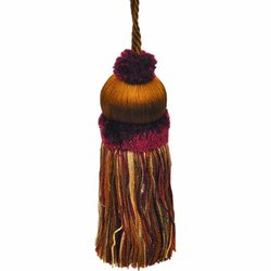 "41/2"" Key Tassel with a 4-Inch Cord - Brown/Rust and Gold"