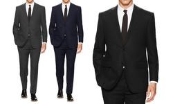 Mens Classic Fit Solid Suit: Black - 38rx32w (2-piece)