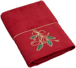 Lenox Ribbon and Holly Embroidered Bath Towel - Red