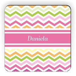 "Rikki Knight ""Daniela"" Pink Chevron Name Design Square Fridge Magnet"