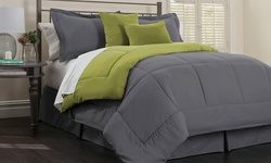 6 Piece Reversible Down Alt. Comforter Set - Platinum Bamboo - Size: King
