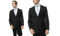 Verno Men's Classic Fit 2-Piece Pinstripe Suit - Black - Size: 36Sx30W