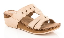 Lady Godiva 2402-41 Women's Comfort Wedge Sandals - Beige - Size: 9