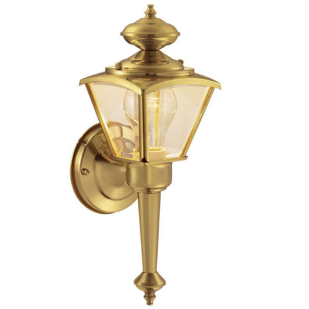 Hampton Bay 1 Light Polished Brass Outdoor Wall Lantern Check Back