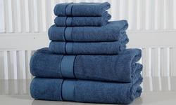 Elegance Spa 600GSM 100% Fine-Combed Cotton Towel Set - Blue Stone - 6Pc