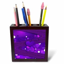3DRose Tile Pen Holder - Purple Heart and Dots - 5-Inch