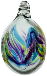 Kitras Mini Easter Egg Glass Ornament - Blue/Amber