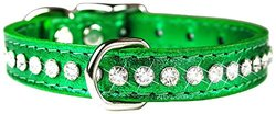 OmniPet Signature Leather Crysta Dog Collar - Metallic Emerald Green - 10""