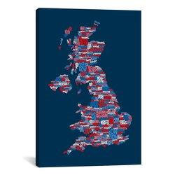 "iCanvasART Great Britain UK City ""Blue"" by Michael Thompsett - 40"" X 26"""