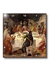 """15""""x15"""" Picture of El Grecos Oil Painting of The Last Supper Wall Clock"""
