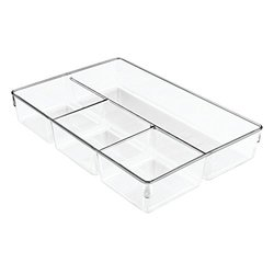 InterDesign Linus Dresser Closet Drawer Organizer, 13-inch by 9-inch by 2.25-inch, 3 Pack, Clear