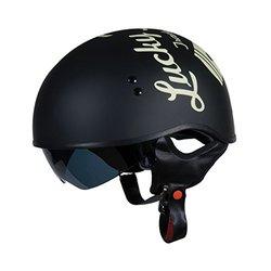 Torc T55 Spec-Op Half Helmet W/Lucky 13 Cracked Piston -Flat Black - Sz:XL