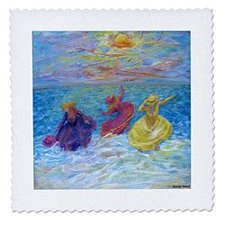 "3dRose 10""x10"" Quilt Square - Girls Play in The Surf"