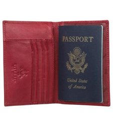 Visconti Soft Leather Passport Cover Wallet - Red - Size: One