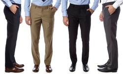Men's Slim-fit Dress Pants: Navy-grey/34/32