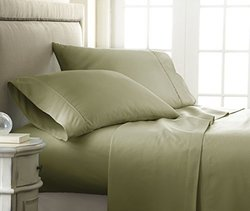 ienjoy Home 4 Piece Home Collection Premium Embossed Checker Design Bed Sheet Set, Queen, Sage