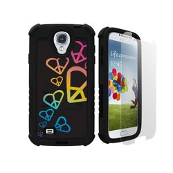 Beyond Cell Tri-Shield Hybrid Hard Shell and Silicone Case with Built-In Kickstand for Samsung Galaxy S4 - Retail Packaging - Black/Rainbow Hearts