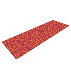 "Kess InHouse Nandita Singh ""Bright Squares"" Yoga Exercise Mat, Red/Pink, 72 x 24-Inch"
