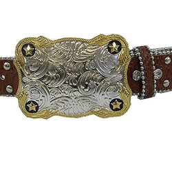 """Winners Outer Wear Brown Leather Belt with Crystals, 38"""""""
