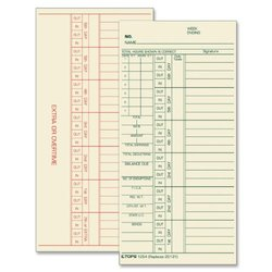 "TOPS Time Cards, Weekly, 2-Sided, Numbered Days, 3-3/8"" x 7"", Manila, Green/Red Print, 500-Count (1254)"
