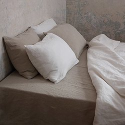 LinenMe Stone Washed Fitted Bed Sheet - Natural