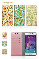 Araree Floral Print Blossom Diary Case for Galaxy Note 4 - Mint