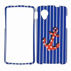 Cell Armor LG Nexus 5 Snap-On Cover - Blue Stripes with Red Anchor