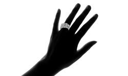 Women's 4.00 CTTW 18K White Gold Plating Princess Crystal Ring Set - Sz: 9