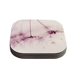 "Kess InHouse Ingrid Beddoes ""Pink Blush"" Coasters - 4""X 4"" - Pink/Purple"