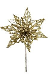 Renaissance 2000 Glitz Cut and Wire Poinsettia Stem - Gold - Size: 18.5""