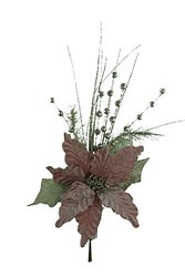 Renaissance 2000 Poinsettia with Ball Pine Spray - Pink - 18""