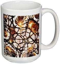 3dRose Brown & Black Textured Art Ceramic Mug - Size: 15Oz