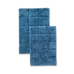 Superior 2-Piece Cotton Checkered Non - Skid Bath Rug Set - Sapphire