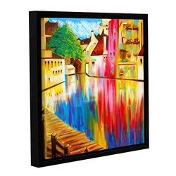 """River Through Treviso"" Gallery Wrapped Floater-Framed Canvas 18 x 18"""
