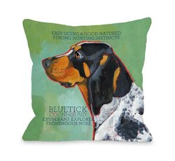 Bentin Pet Decor Blue Tick Coonhound 2 Pillow - 18 x 18-Inch