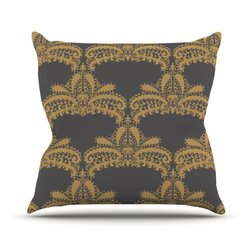 "Nandita Singh ""Decorative Motif Gold"" Copper Floral Throw Pillow 18x18"""