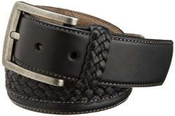 Trafalgar Tommy Bahama Men's Genuine Leather Braided Belt - Black - Sz: 42