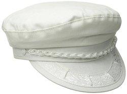 Aegean Men's Cotton Greek Fisherman's Cap, White, 7 5/8